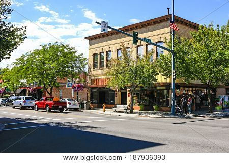 Coeur d'Arlene, ID, USA - 07/19/2015: Retail stores on Sherman Ave in Coeur d'Alene in Idaho