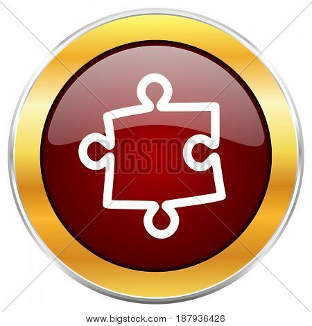 Puzzle red web icon with golden border isolated on white background. Round glossy button.