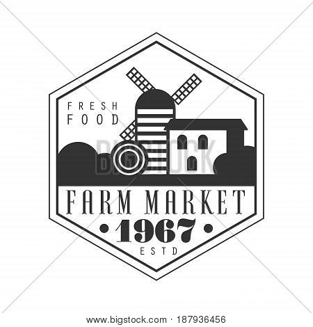 Farm market estd 1967 logo. Black and white retro vector Illustration for organic products packaging, farms, shops