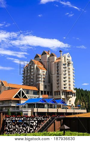 Coeur d'Arlene, ID, USA - 07/19/2015: The Coeur d'Alene Resort hotel near the lake in this city of the same name in North Idaho
