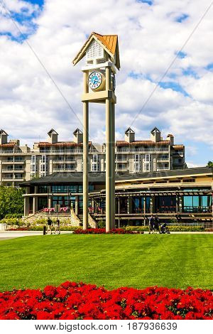 Coeur d'Arlene, ID, USA - 07/19/2015: City clock in the Lake Resort city of Coeur d'Alene in North Idaho