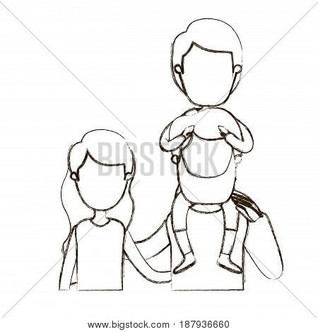 blurred thin contour caricature faceless front view half body family with wavy long hair woman and bearded man with boy on his back vector illustration