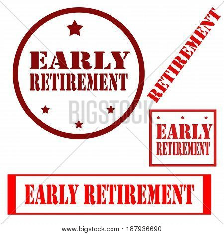 Set of stamps with text Early Retirement,vector illustration