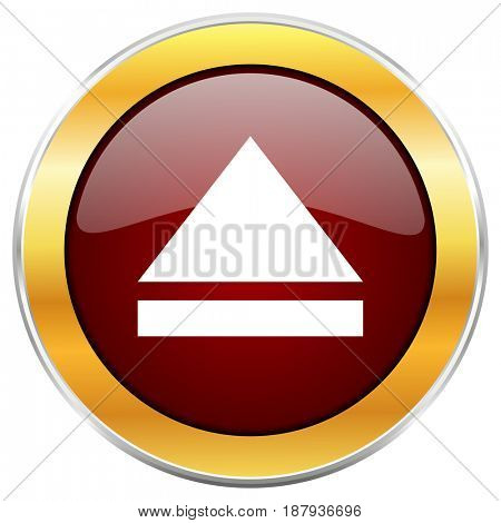 Eject red web icon with golden border isolated on white background. Round glossy button.