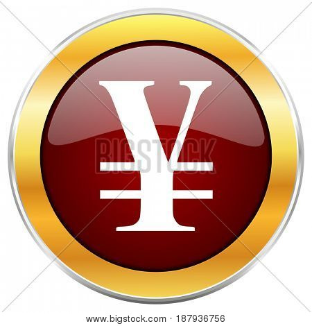 Yen red web icon with golden border isolated on white background. Round glossy button.