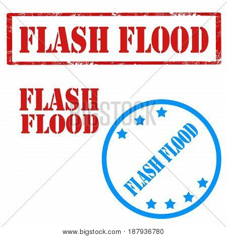 Set of stamps with text Flash Flood,vector illustration
