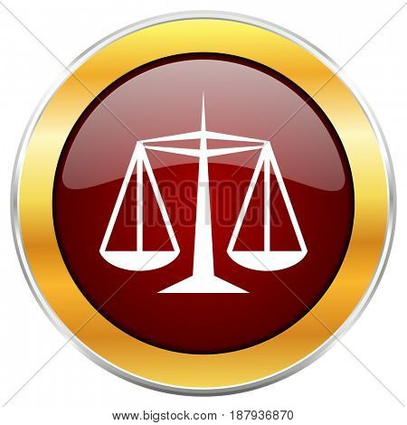 Justice red web icon with golden border isolated on white background. Round glossy button.