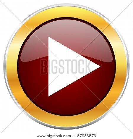 Play red web icon with golden border isolated on white background. Round glossy button.