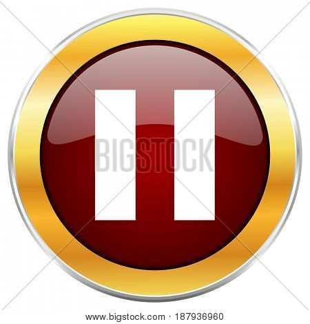 Pause red web icon with golden border isolated on white background. Round glossy button.