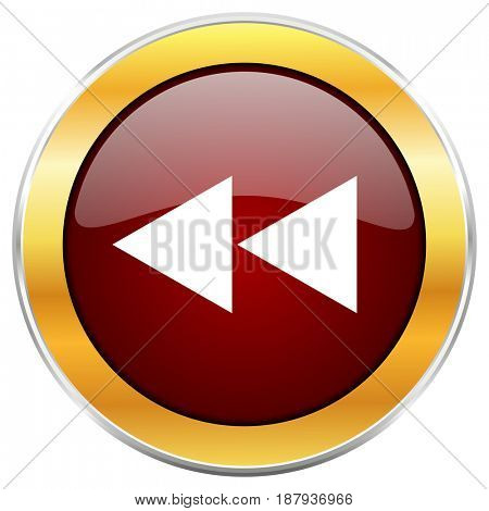 Rewind red web icon with golden border isolated on white background. Round glossy button.