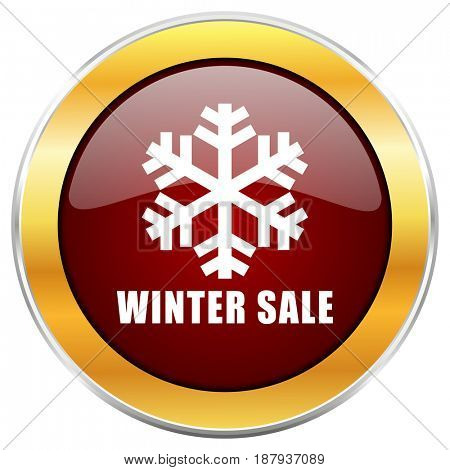 Winter sale red web icon with golden border isolated on white background. Round glossy button.