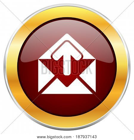Email red web icon with golden border isolated on white background. Round glossy button.