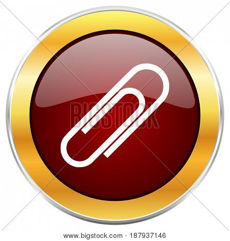 Paperclip red web icon with golden border isolated on white background. Round glossy button.