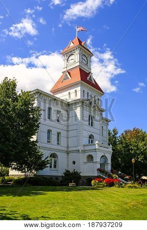 Corvalis, OR, USA - 07/14/2015: The Benton County Courthouse built in 1888 and located between NW 4th St and Jackson and Monroe Sts in Corvalis Oregon.