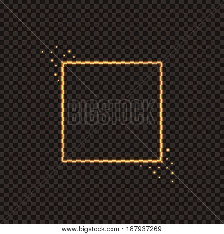 A fiery square frame with sparks. Festive golden Christmas frame for decorating your projects. Vector illustration.