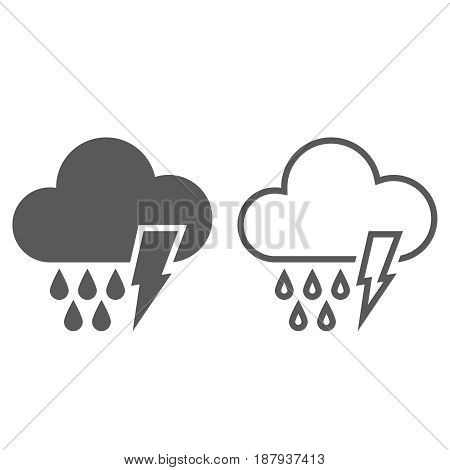 Lightning And Rain Icon. Solid And Outline