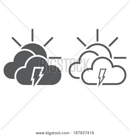 Lightning And Sun Icon. Solid And Outline