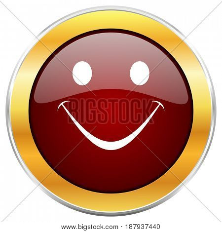 Smile red web icon with golden border isolated on white background. Round glossy button.