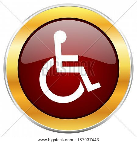 Wheelchair red web icon with golden border isolated on white background. Round glossy button.