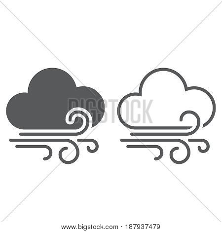 Wind And Clouds Weather Icon. Solid And Outline