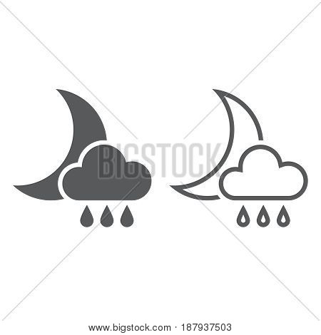 Moon And Rain Icon. Solid And Outline