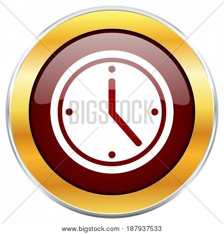 Time red web icon with golden border isolated on white background. Round glossy button.