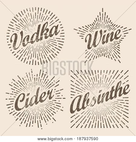 Retro design sunburst, radiant starburst for vodka wine cider and alcohol. Vector art illustration