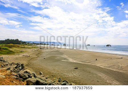 Crescent City, CA USA - 07/12/2015: View of the Pacific coast in the upper northwestern part of California about 20 miles south of the Oregon border