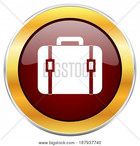 Bag red web icon with golden border isolated on white background. Round glossy button.