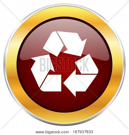 Recycle red web icon with golden border isolated on white background. Round glossy button.