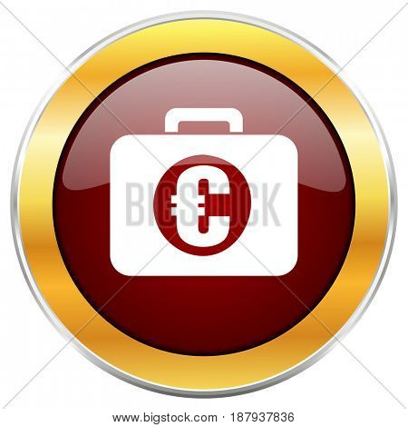 Financial red web icon with golden border isolated on white background. Round glossy button.