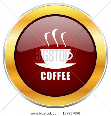 Espresso red web icon with golden border isolated on white background. Round glossy button.