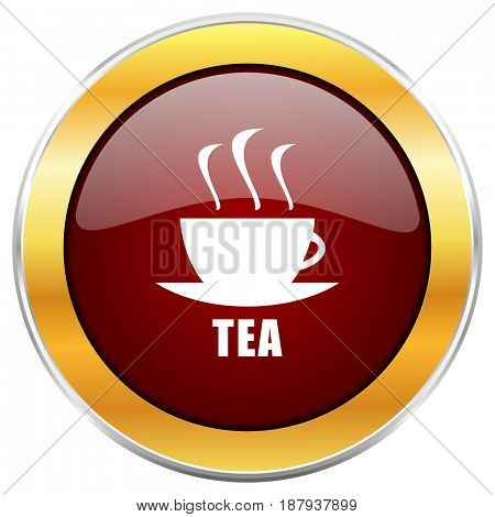 Tea red web icon with golden border isolated on white background. Round glossy button.