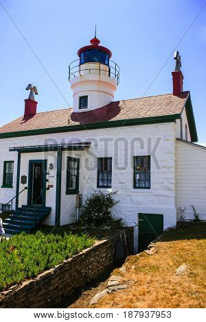 Crescent City, CA USA - 07/12/2015: Historic Battery Point Lighthouse at Crescent City on the Pacific coastline in Del Norte County California