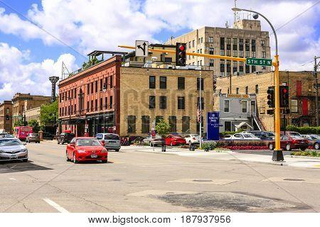 Fargo, ND, USA - 07/24/2015: View down 5th Street N in downtown Fargo City North Dakota