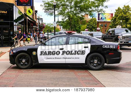 Fargo, ND, USA - 07/24/2015: Fargo Police dept cruiser on the streets of this North Dakota city