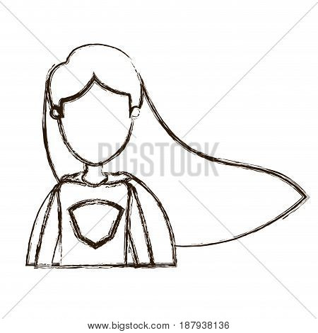 blurred thick silhouette caricature faceless half body super woman with straight long hair vector illustration