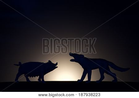 concept conflict.Pig versus wolf silhouette on a dark background