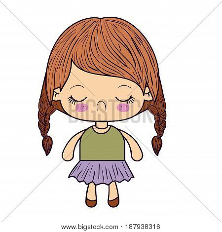 colorful silhouette of kawaii little girl with braided hair and facial expression disgust vector illustration