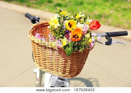 Bicycle with beautiful basket of flowers on blurred background