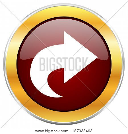 Next red web icon with golden border isolated on white background. Round glossy button.