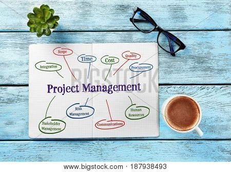 Business concept. Notebook with scheme of PROJECT MANAGEMENT on wooden background
