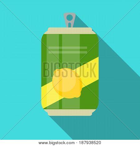 Lemonade Cans Bottle Template in Modern Flat Style Isolated on White. Material for Design. Vector Illustration EPS10