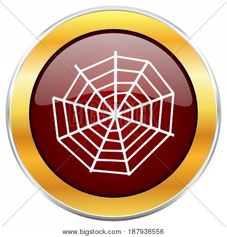 Spider web red web icon with golden border isolated on white background. Round glossy button.