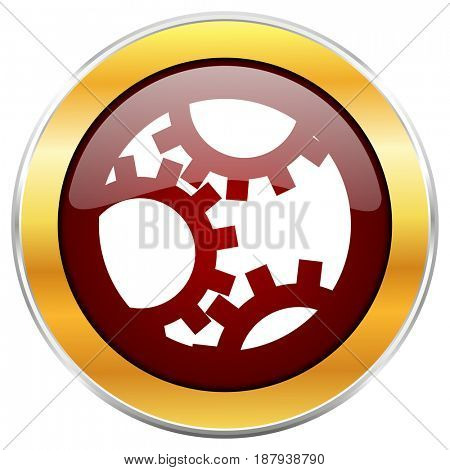 Gear red web icon with golden border isolated on white background. Round glossy button.