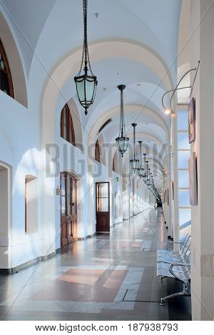 Moscow Russia - May 13 2017: Corridor in business cultural and shopping center Gostiny dvor in Moscow Russia.