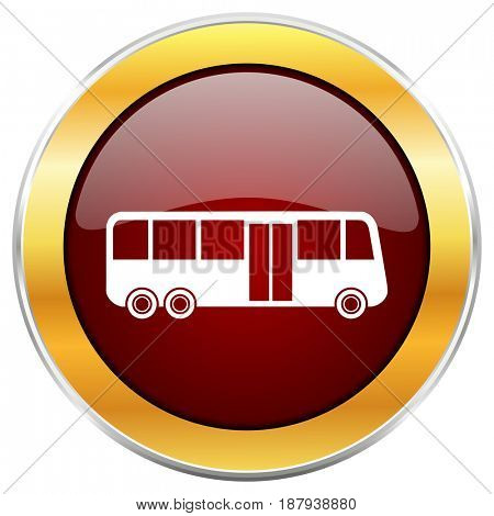 Bus red web icon with golden border isolated on white background. Round glossy button.
