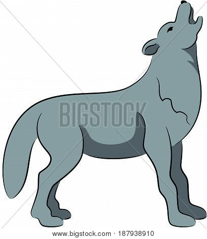 Illustration of a cartoon howling wolf, isolated
