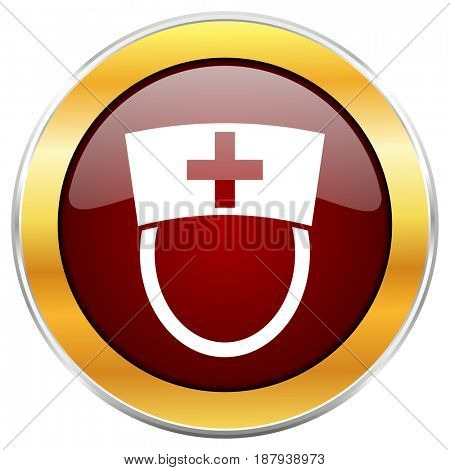 Nurse red web icon with golden border isolated on white background. Round glossy button.