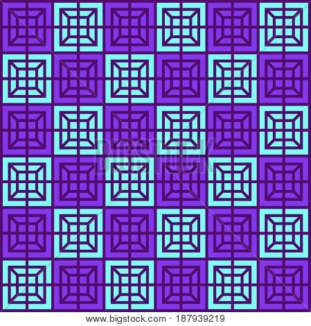 Geometric Pattern, Seamless Square Simple Background Texture Violet And Sky Blue Color